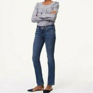 LOFT Blue Mid Rise Modern Straight Leg Jeans